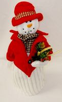 "Fleece Snowman Wearing Red Coat Hat Decor 15""NWT"