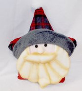 "Nordic Plaid Santa Pillow Winter Decor 16"" NWT"