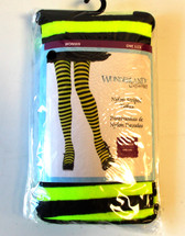 Back Green Striped Nylon Thigh High Adult Stockings OSFM NIP