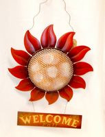 "Harvest Red Flower Welcome Metal Hanger Fall Decor 15"" NWT"