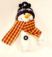 "Fleece Snowman Ornament Blue Hat  Christmas Winter Decor 7"" NWT"