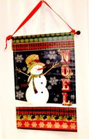 "Snowman Noel Fabric Red Green Snowflakes Banner 24"" NWT"