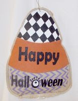 "Candy Corn White Orange Purple Trick-or-Treat Painted Burlap 17"" NWT"