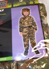 Army Jumpsuit Hat Boy Costume Child 2-4 NWT