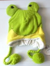 "Green Frog Animal Knit Fleece 16"" Hat Child Costume Hat 5-8 NWT"