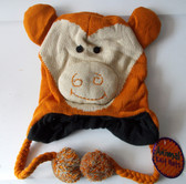 "Monkey Brown Animal Knit Fleece 16"" Hat Child Costume Hat 5-8 NWT"