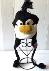 "Black Penguin Sea Life Knit Fleece 16"" Hat Child Costume Hat 5-8 NWT"