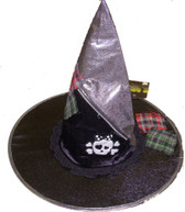 Black Witch  Hat Skull Cross Bones Adult Dress-up NWT