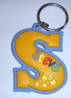 Personalized Steve Keychain Keyring Backpack Ring Gift Tag Orange Blue NeW