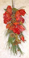"Red Christmas Swag Flower Berries 24"" Holiday Decor NeW"