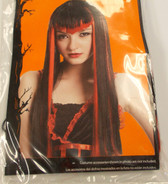 Long Black Red Vampire Wig Adult OSFM 20' NIP