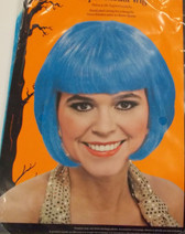 Short Blue Bob Supermodel Wig Adult OSFM NIP
