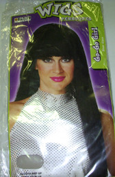 Black Long GoGo Go Go Wig Adult OSFM 14+ NIP