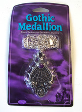 Gothic Medallion Silver Teardrop Spiderweb Necklace Jewelry Halloween Accessory NIP