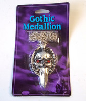 Gothic Medallion Silver Dagger Necklace Jewelry Halloween Accessory NIP