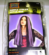 Black Purple Streaked Witch Wig Adult Curly OSFM 3+ NIP
