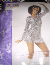 Disco Diva Sexy Costume Dress Adult M 8-10 NWT