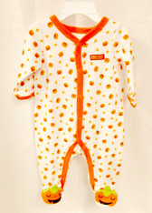 Baby's First Halloween Infant Boys Unisex White Orange Jumpsuit Infant NWT