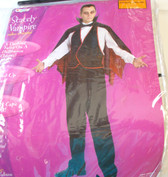 Stately Vampire Adult Mens Vest Cape Costume 42-46 NIP