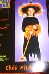 Orange Feather Witch Costume Dress-up Dress 8-10 NWT