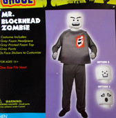 Mr. Blockhead Zombie Adult Costume OSFM NIP