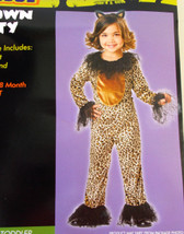 Brown Kitty Child Toddler Leopard Costume Jumpsuit Ears 12-18M NIP