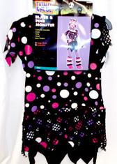 Black Pink Monster Polka Dot Child Teen Costume L 12-14 NIP
