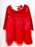 Red Christmas Holiday Dress Faux Velour Poly Satin Sequin Fur Collar 3T NWT