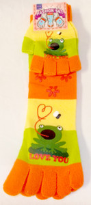 Frog Love You Green Orange Yellow Striped Toe Socks Fingerless Gloves Set Child 9-11 NWT