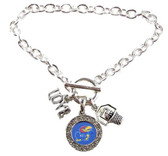 "Kansas University KU Jayhawks 3 Charm Basketball Love  Blue Silver Bracelet 7.5"" NWT"