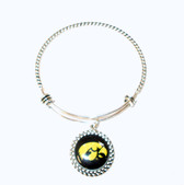 "University of Iowa Hawkeyes Wire Memory Wrap Bangle Silver Bracelet 7.5"" NWT"