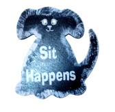 "Black Dog Sit Happens Wood Sign Magnet 3.5"" NeW"