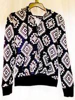 Almost Famous Faux Shera Trim Printed Hoodie Black L NWT