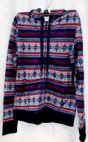 Almost Famous Faux Shera Trim Printed Hoodie Navy Red S NWT