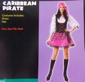 Caribbean Pirate Pink Black Child Teen Costume OSFM NIP
