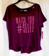 Material Girl Active Juniors' Selfie Graphic Crisscross Fig Purple T-Shirt L NWT