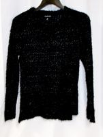 Rampage Juniors' Black Silver Metallic Open-Knit Pullover Sweater XS NWT