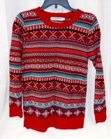 Cotton Emporium Juniors' Fair Isle Striped Pullover Sweater Red Blue Teal XL NWT