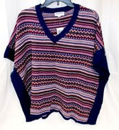 Freshman Juniors' Striped V-Neck Poncho Sweater Purple Navy XL NWT