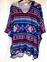 Belle Du Jour Junior Printed Hoodie Poncho Sweater Blue Red XS NWT