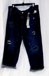 American Rag Cuffed Ripped Boyfriend Jeans Blue Washed 15 NWT