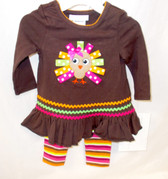 Bonnie Jean Brown Green Pink Orange White Turkey 2 Piece Long Sleeve Outfit Child 12M NIP