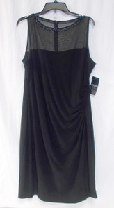 American Living Beaded Neckline Sheer Illusion Sheath Black Dress 18 NWT