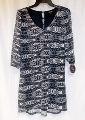 Be Bop Juniors' Slit Sleeve Black Ivory Dress M NWT
