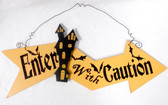 Black Orange Glitter Wood Enter With Caution Haunted House Halloween Decor Sign  18in NIP