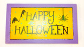 Black Orange Purple Happy Halloween Bat Spider Wood Plaque Decor 7in NIP