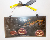 Youngs Inc  Orange Black Happy Haunting Wooden Decor Halloween Sign 8in NIP