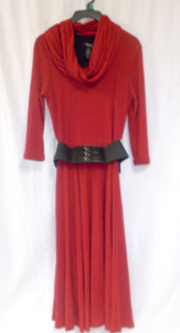 Style & Co. Belted Red Sweater Dress Cowl Scarf Dress S NWT