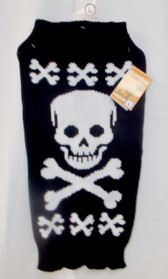 Dog Black White Stripes Skull Crossbones Halloween Sweater M L NWT