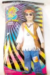 Fun World The Groovy 60's White Denim Groovin Hippie Costume Jumpsuit S L NIP